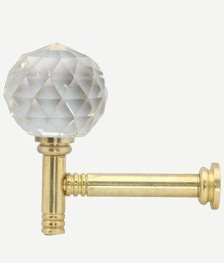 Embrasse haak klein Kristal 8 cm Goud -Messing